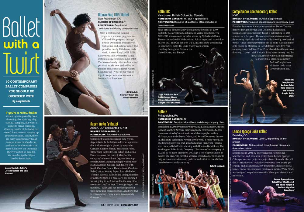 Dance Spirit Magazine - Lemon Sponge Cake Contemporary Ballet